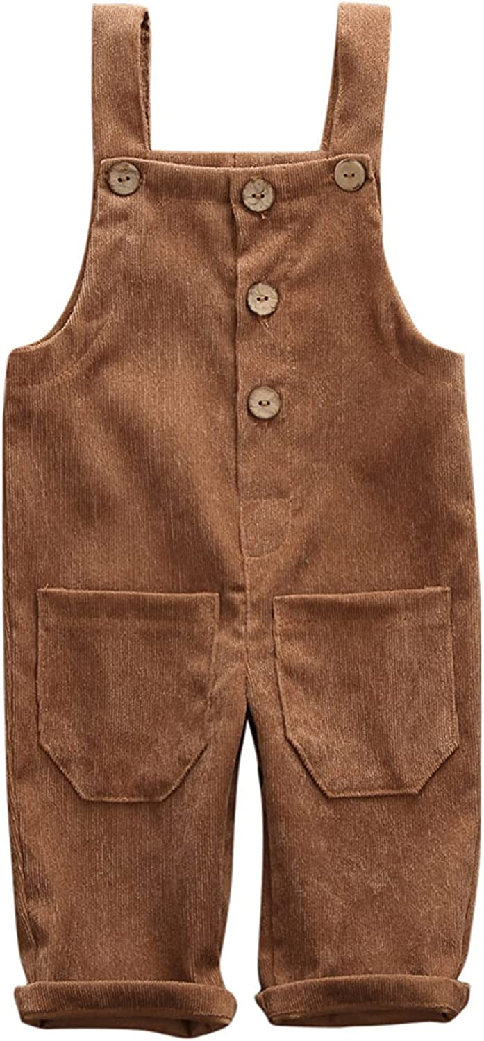 Toddler Baby Boy Girl Corduroy All items free shipping Solid Suspender Outlet sale feature Pant Bib Overalls