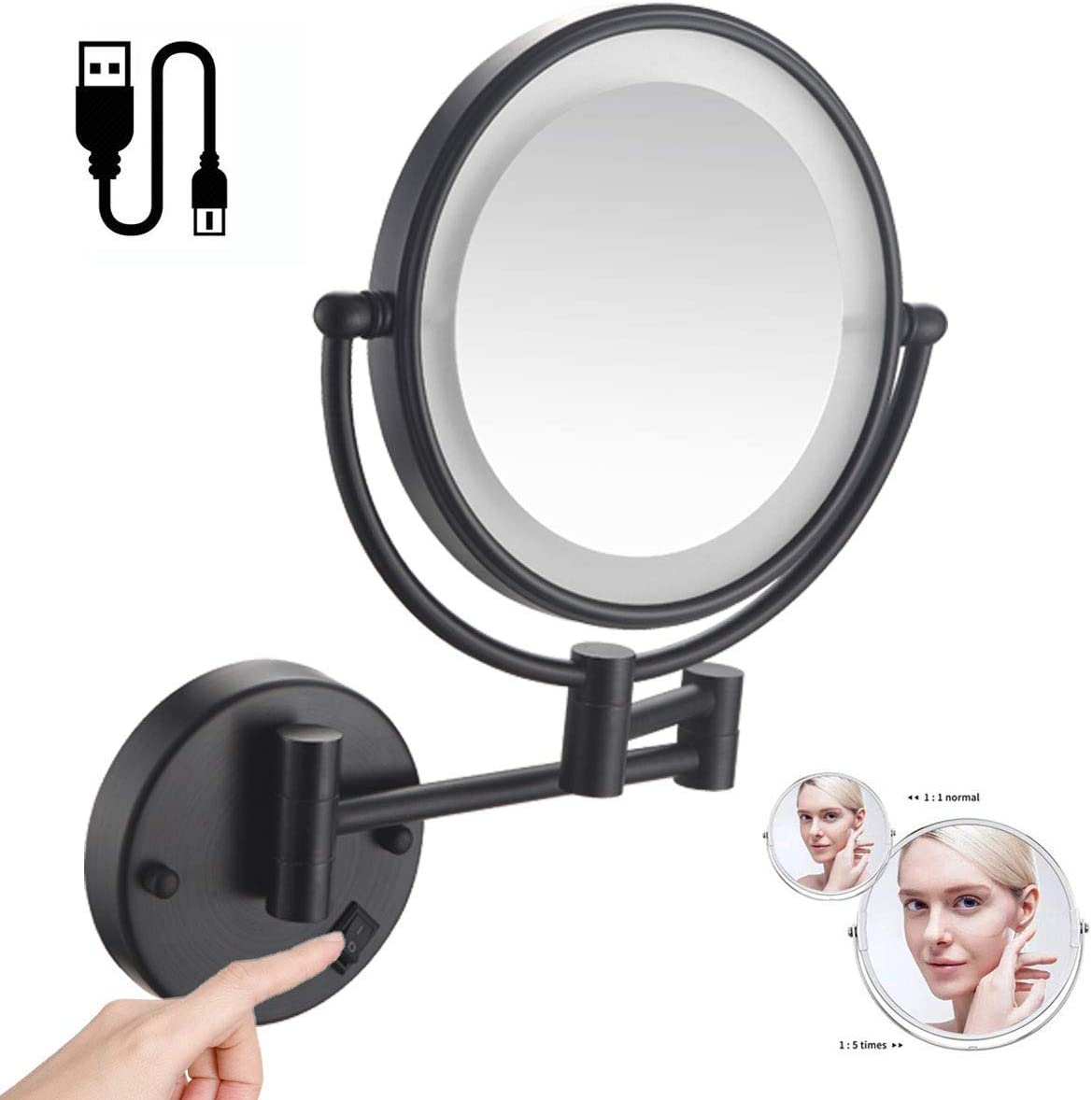 Wall Mounted New mail order Makeup Weekly update Mirror with Lights Rou Magnification and 5X