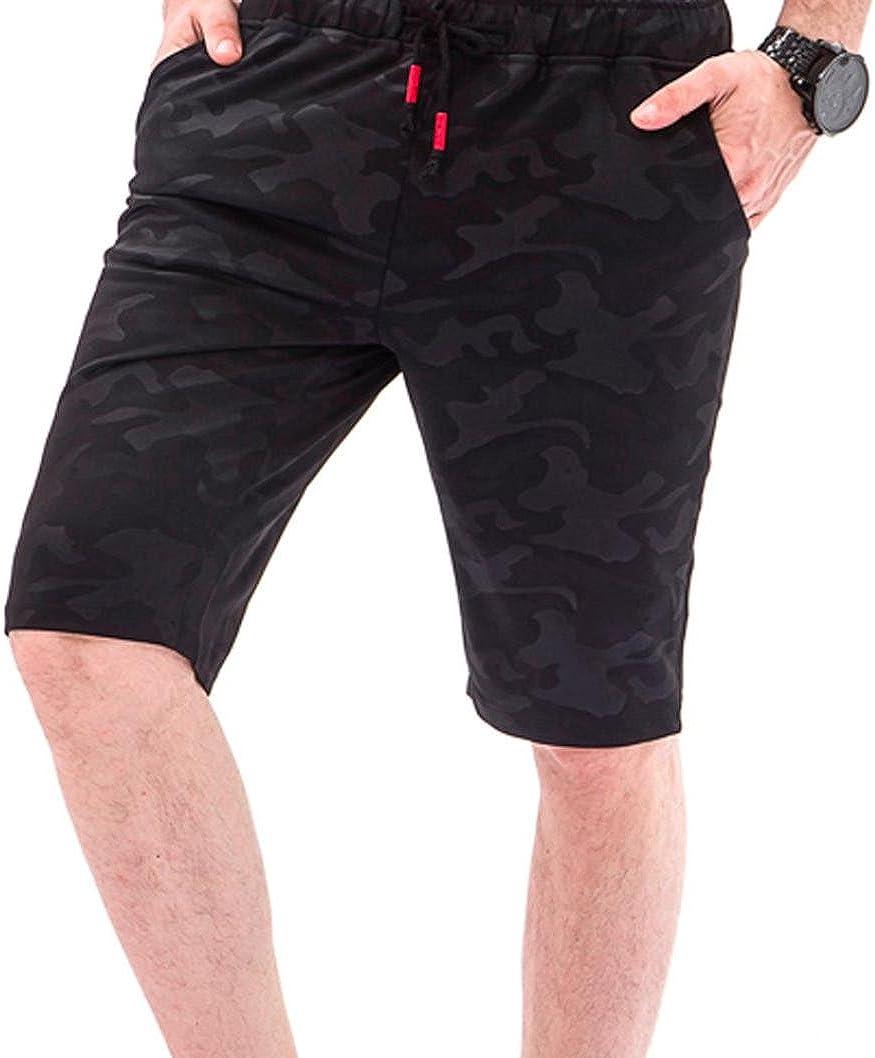 RAISINGTOP Men Shorts Camouflage Overalls Casual Pocket Beach Casual Pants Elastic Waist Drawstring Trousers Knee