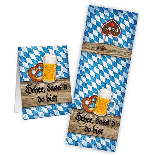 50 Stück SCHÖN DASS DU DA BIST blau weiß kariert bayerische Aufkleber Bayern Banderole Sticker 5 x 14,8 cm Tischkarten basteln Papiertüten give-away Mitgebsel Tüten zukleben Verpackung