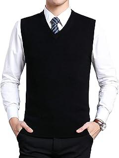 Moren Classic Mens V-Neck Wool Sleeveless Jumper Vest Autumn Winter Warm Knitted Gilet Slipover Waistcoat Sweater Tank Top...