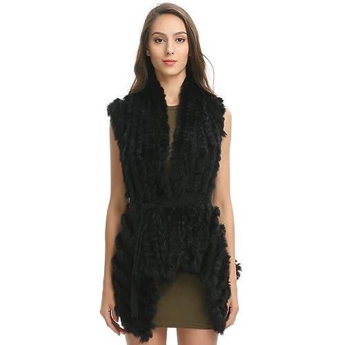 En gros fourrure de lapin tricoté gilet court manteau gilet fortement recommandé