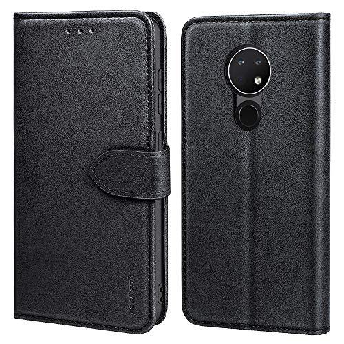 TesRank Nokia 6.2 / Nokia 7.2 Hülle, Premium PU Leder Flip Wallet Tasche mit Kickstand & Card Slots Magnetverschluss Schutzhülle Brieftasche Handyhülle für Nokia 6.2 / Nokia 7.2-Schwarz