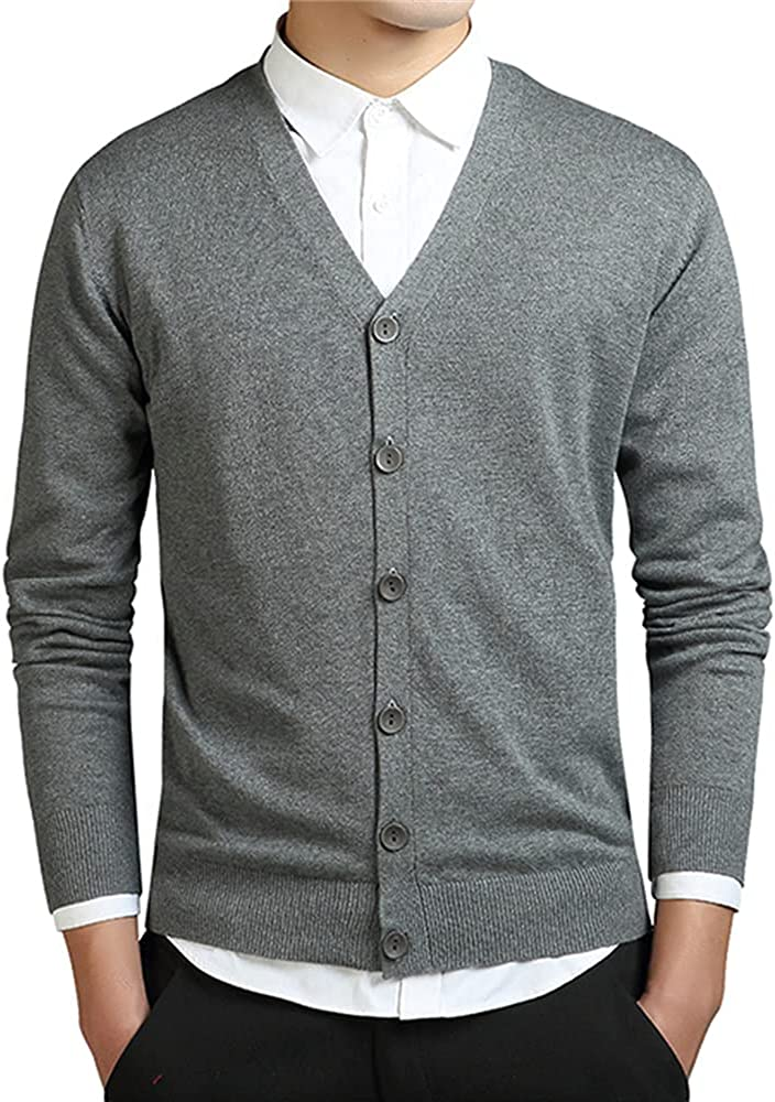 Grey Men Sweater Long Sleeve Mens Sweaters Loose Button Fit Knitting Casual