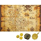 Gejoy Brown Beige Detailed Treasure Map Pirate Gold Secret Sea Historical Theme Home Decoration, Pirate Toy Compass Necklace Plastic Coins Pirate Theme Party Supplies