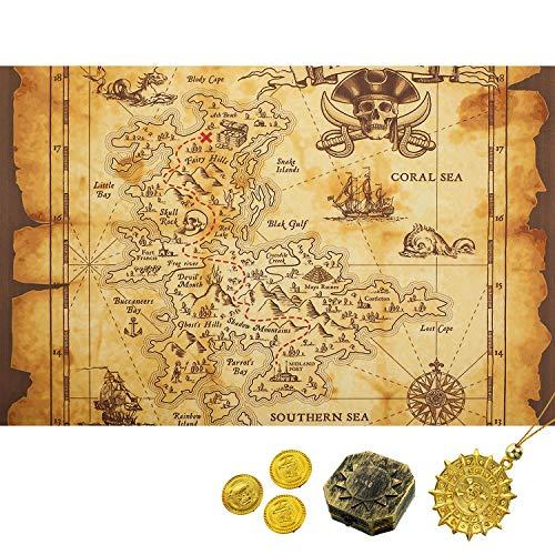 Gejoy Detailed Treasure Map Halloween Brown Beige