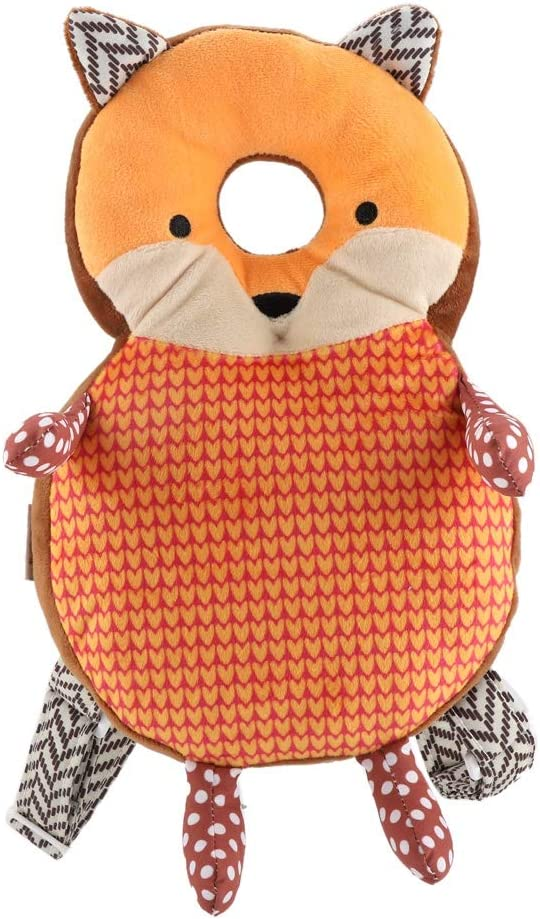 Toddler Head Protector,Adjustable Infant Safety Pads,Cute Cartoon Head Protection Pillow,Elastic Comfortable Shoulder Back Learn Walking Protective Cushion,for Baby Walkers Protective (Orange Fox)