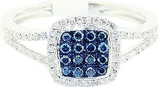 Blue and White Diamond Split Shoulder Halo Ring 10K White Gold 1/3cttw (I/j Color 0.33cttw)