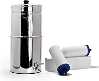 Propur Big Countertop Gravity Water Filter System - Removes Fluoride, Lead, Chlorine, Microplastics, and More - Includes 2 ProOne 7-inch Filter Elements - Use in Your Home or Office
