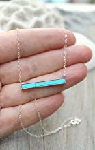 Boho Chic Turquoise bar necklace, 925 sterling silver layering necklace, Gemstone necklace, blue bohemian bar