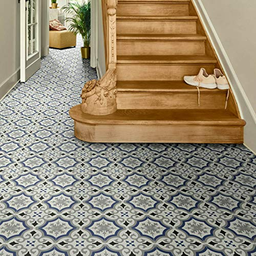 PVC Bodenbelag Fliese Alhambra Blau mit Textilrücken (Musterstück DIN A4)