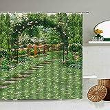 XCBN Cortina de Ducha de Pared de Piedra Vieja de Hiedra Verde, Plantas en macetas de jardín, baño, Pantalla de Fondo de fotografía Impermeable A6 90x180cm