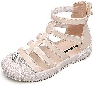 (ダダウン)DADAWEN 女の子サンダル 子供 つま先保護 サンダル ジッパー付き 脱ぎ履き便利 通学靴 コンフォート 滑り止め アウトドアシューズ
