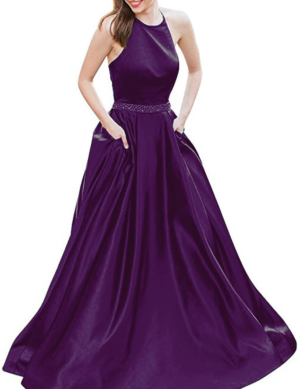 72ef2dad08c Mileyhouse Halter Satin Long Beaded Backless ALine Formal Prom Evening  Dresses