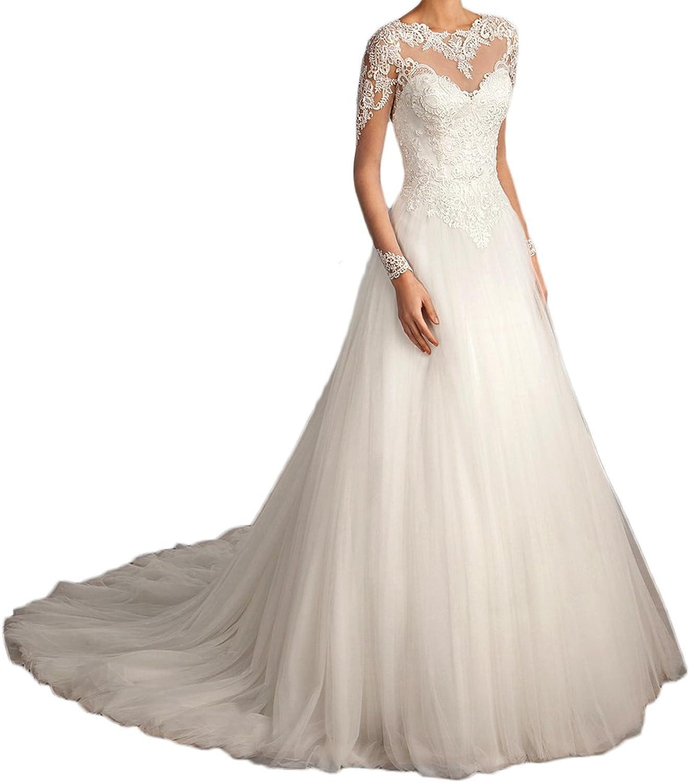 Alexzendra Line Wedding Dress For Bride 2018 Illusion Back Vintage Wedding Dress With Long Sleeves