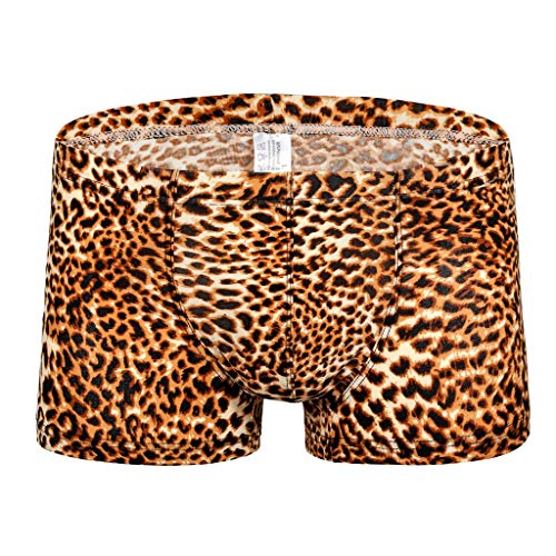 LOPILY Calzoncillos de Estilo Retro Leopardo pantalón de Cintura Baja para Hombre Suave Cómodo Braguitas Transpirables Bóxer Elástico Bañador Hombre
