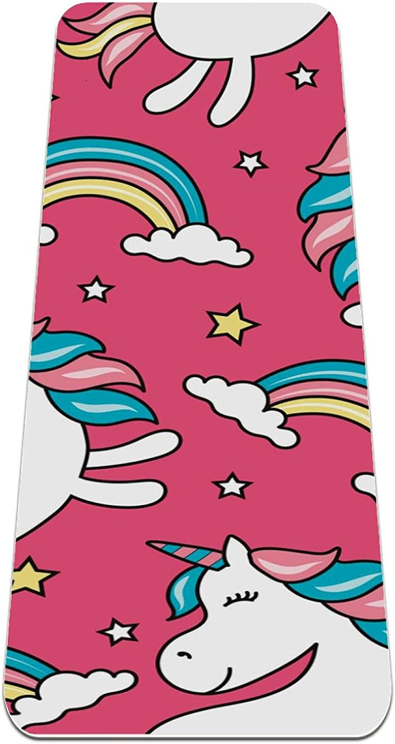 Thick famous Non Slip Max 79% OFF Exercise Fitness 1 Unicorn yoga with Pink 4 mat