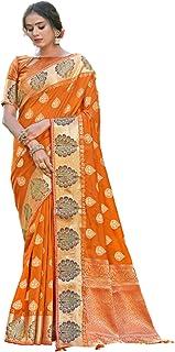 ساري نسائي أصفر مصمم هندي أنيق من الحرير الخالص مع قطعة بلوزة بتصميم أنيق احتفالي 6064