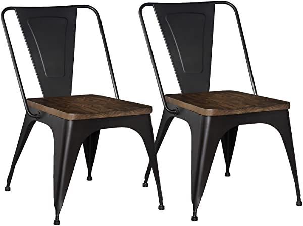 Standard Furniture Nelson 2 Pack Metal Chair Black