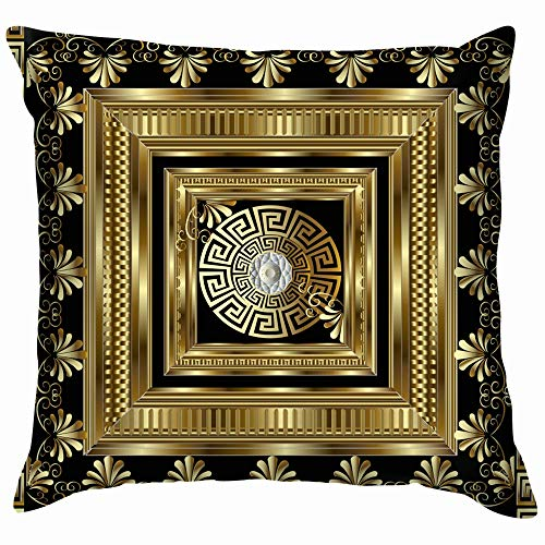 Luxury Gold 3 D Geometric Greek Key Throw Pillow Case Cushion Cover Pillowcase Watercolor for Couch 18X18 Inch