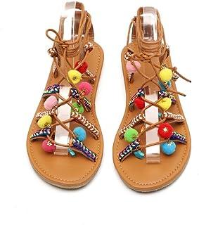 21b25143aaea1b Beauty-Luo Sandali Donna Sandali della Boemia delle Donne Sandali  Gladiatore in Pelle Appartamenti Scarpe