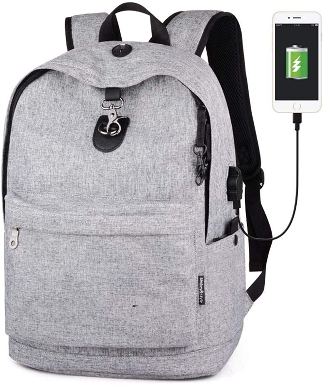 DYR Backpack Student Bag USB Outdoor Travel Bag Men and Women Shoulder Bag Computer Bag Casual Handbag