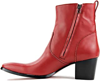 Suetar Men's Vintage Rock Style Block Heel Point Toe Leather Cowboy Boots LB001