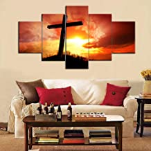 Wall Crosses for Home Decor 5 Piece Canvas Wall Art Paintings,Modern Artwork for Living Room Picture Giclee,Wooden Framed Gallery-wrapped Stretched Ready to Hang Posters and Prints(60''Wx32''H)