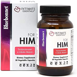 Bluebonnet Nutrition Intimate Essentials for Him Testosterone & Libido Boost, Soy-Free, Gluten-Free, Non-GMO, Dairy-Free, ...