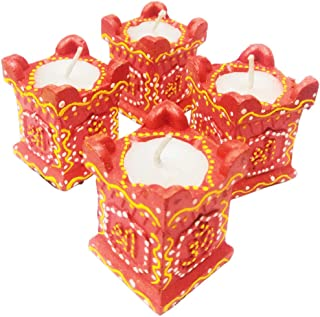 ARVANA Decorative Designer Indian Handcrafted Terracotta tulsi Diya for Diwali Gifts/laxmi puja & Home Decorations - Pack of 4