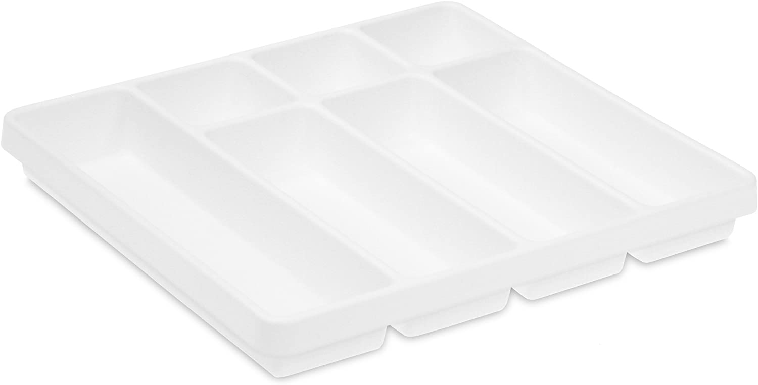 TrippNT 50058 White Polystyrene Plastic Big Drawer Organizer, 7 Compartments, 19 Inch Width x 2.38 Inch Height x 17.5 Inch Depth