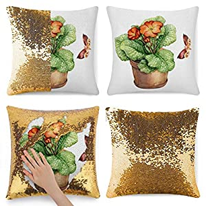 Silk Flower Arrangements Sequin Pillow Case, Flip Sequin Pillow Cover, Artificial Flower Begonia Houseplant Natural Collection Mermaid Sequin Pillow Cover, Magic Reversible Cushion Sequin Throw Pillowcase 15.7 x 15.7 Inches