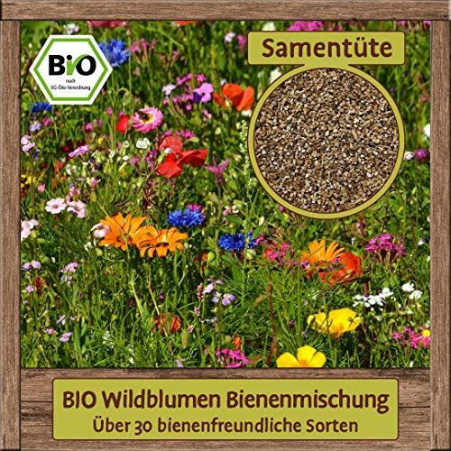 BIO Wildblumen Samen Mischung, Saatgut mehrjährig, 30 Blumen Sorten Mix, Sommerblumen für Bienenwiese