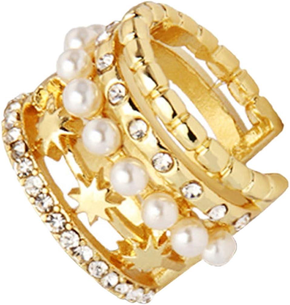 Happyyami Pearl Ear Cuff Wrap Earrings Single Rhinestone Cartilage Earrings Star Non Piercing Jewelry For Ladies Girls Women Golden