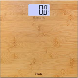 AMERICAN WEIGH SCALES Deluxe Eco-Friendly Digital Backlit Bathroom Scale, Bamboo, 330lbs (330ECO)