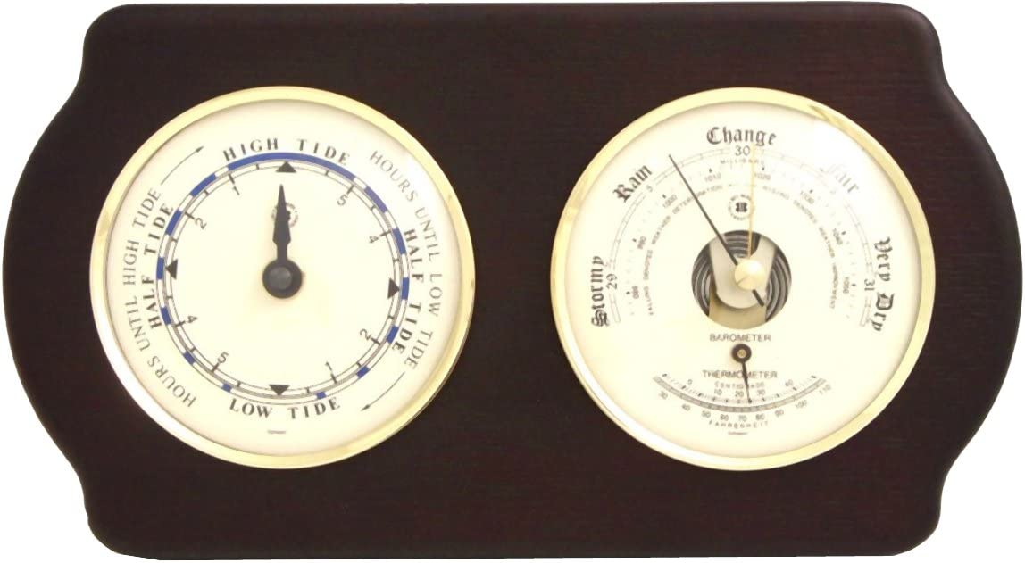 Bey-Berk Brass Tide Now free shipping Clock and Barometer Thermometer All stores are sold
