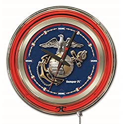 Holland Bar Stool Co. Officially Licensed United States Marine Corps Double Neon 15 Clock