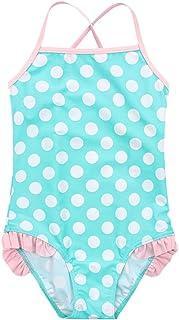 OBEEII Little Big Girls One Piece Swimsuit Bathing Suit Ruffle Dot Flower Swim Swimwear