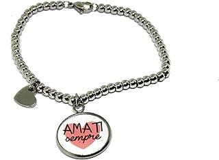 Bracciale AMATI - Bracciale Frase - Bracciale a sfere - Bracciale in acciaio