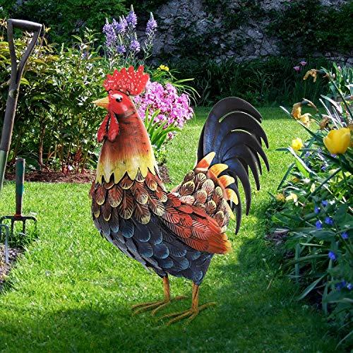 chisheen Rooster Decor Garden Statue Outdoor Chicken Yard Art Sculpture