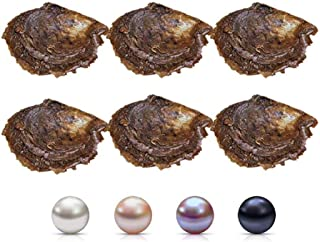 7-8mm Saltwater Cultured Pearl in Oyster Mixed Color Jewelry Making Bead Pearl White, Pink, Purple, Black Akoya Round Pearl in Oyster for Pearl Party, Pack for 5 Pcs