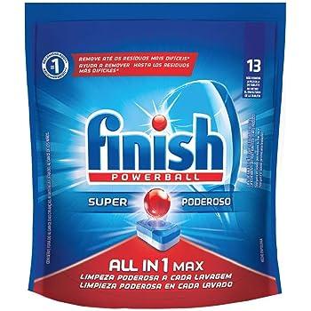 Finish Detergente Finish Powerball Para Lavavajillas 13 Tabletas De 16.3 G Con U, color, 13 count, pack of/paquete de 13