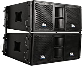 Seismic Audio - SALA-210-Pair - Pair of Passive 2x10 Line Array Speakers with Dual Compression Drivers - PA/DJ Band Live Sound
