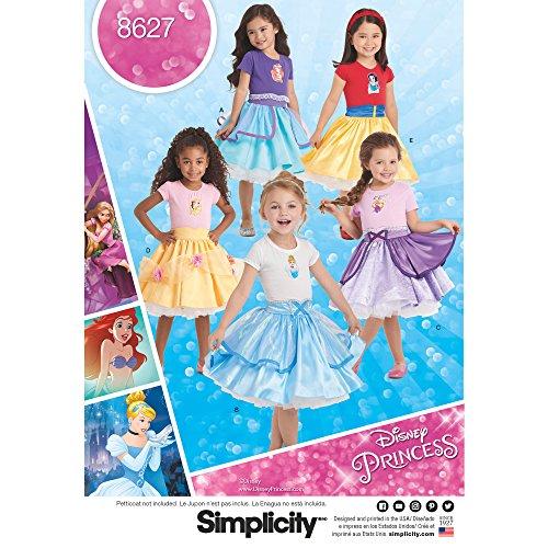 Simplicity 8627 Girl's Disney Princess Costume Skirt Sewing Patterns, Sizes 3-8