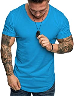 Rakkiss_Men T-Shirt Solid Sport Fitness Blouse Slim Fit Casual Clothes O-Neck Short Sleeve Summer Tops