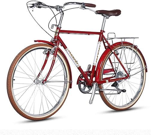 Retro bicicleta de carretera, las mujeres de alto carbono Acero 7 Velocidad Ciudad de cercanías de bicicletas, de liberación rápida, Doble V freno, perfecto for carretera o suciedad Touring Trail, Roj: Amazon.es: