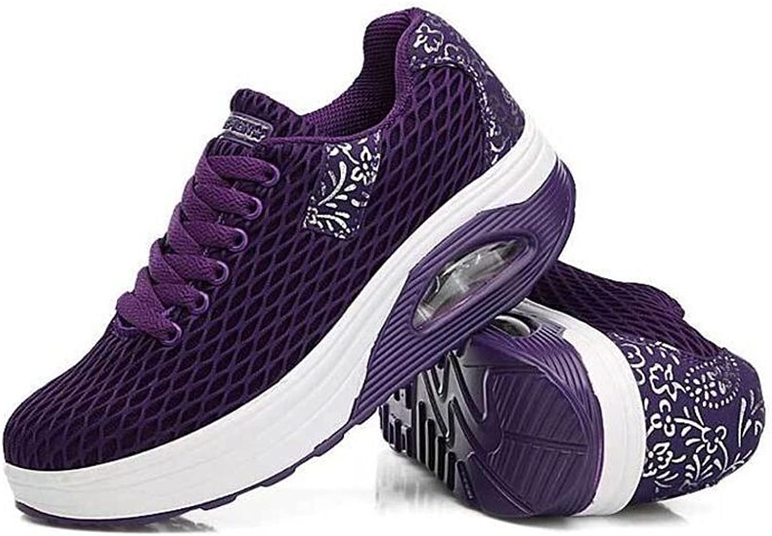 COLOV Women Work Out Lace Up Sneakers Shape UPS Platform Walking Fitness shoes