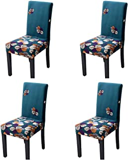 SoulFeel Stretch Spandex Dining Room Chair Protector Slipcovers, Set of 4 (Style 46, Forest Greens)