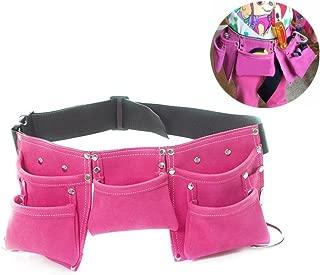 Fellibay Double Tool Belt Nail Tool Pouch Builders Bag Belt Storage Hammer Holder Waist Bag with 5 Pockets for Kids Children (Magenta)