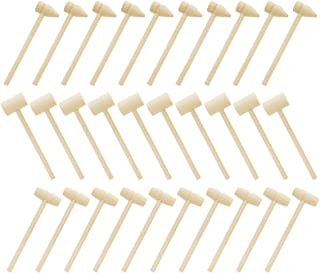 Healifty 30pcs Mini Wooden Hammer Kids Wooden Mallets Small Toy Gavel Crab Mallet Pounding Hammering Toys for Kids Boys Girls